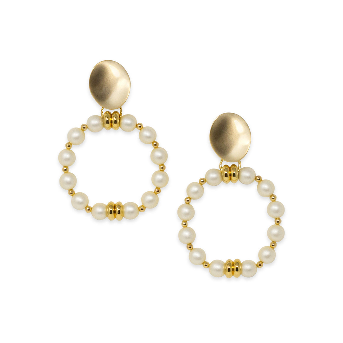 CORA RING EARRING IN IVORY PEARL
