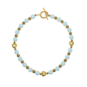 TATE HUDSON SWAROVSKI LIGHTEST BLUE PEARL HEART NECKLACE