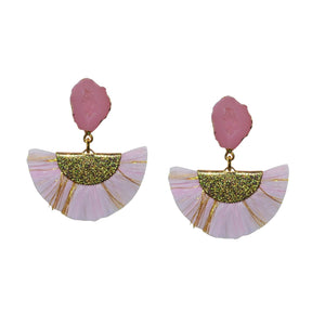 RAFFIA EARRING IN LIGHT PINK WITH DRUZY POST
