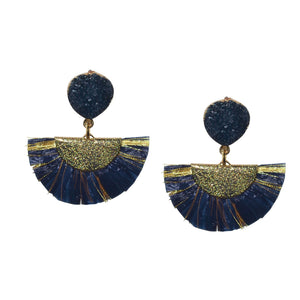 RAFFIA EARRING IN NAVY WITH DRUZY POST