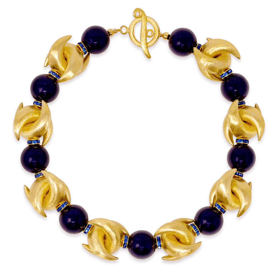 LUNA NECKLACE IN GOLD AND NAVY BLUE