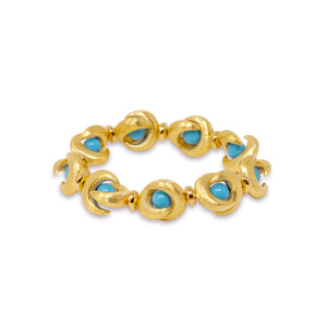 ROSEBUD BANGLE IN TURQUOISE