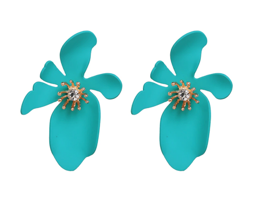 Evelyn Flower Earring in Deep Turquoise