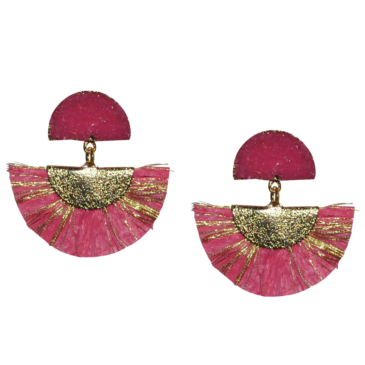 RAFFIA EARRING IN DARK PINK WITH DRUZY POST