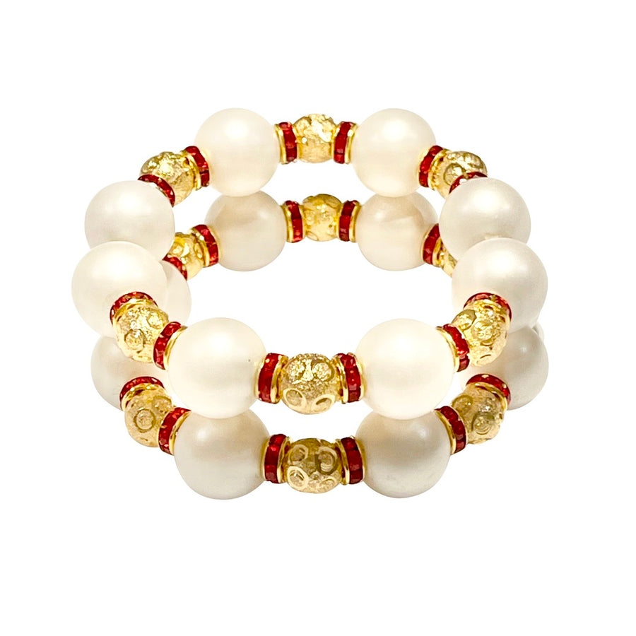 VALENTINES CUFF IN IVORY AND RED CRYSTAL