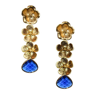 VERITY TRIPLE FLOWER EARRING WITH BLUE CRYSTAL