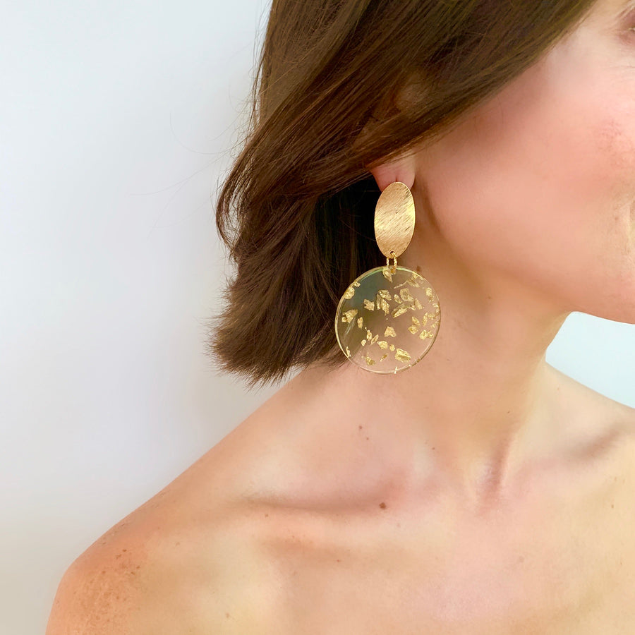 GOLD LEAF DISK EARRING