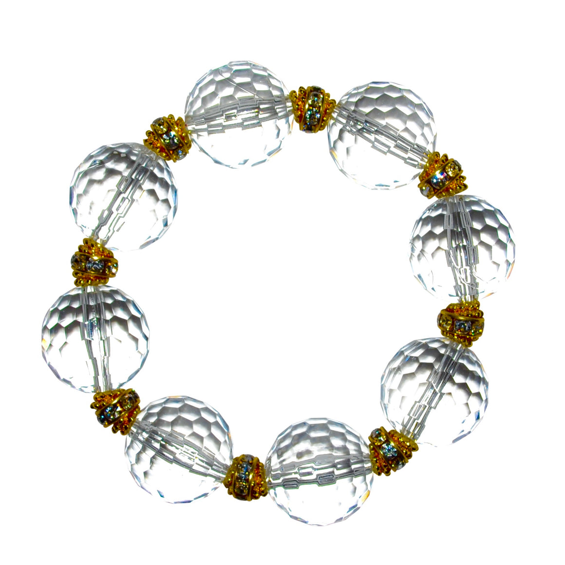 LUCITE STATEMENT BRACELET IN FACETED CLEAR LUCITE