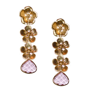 VERITY TRIPLE FLOWER EARRING WITH PINK CRYSTAL