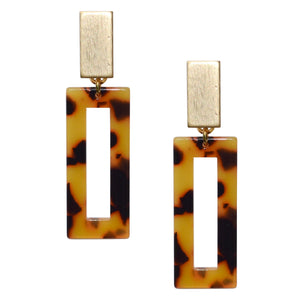 AIMEE RECTANGLE TORTOISE SHELL EARRING