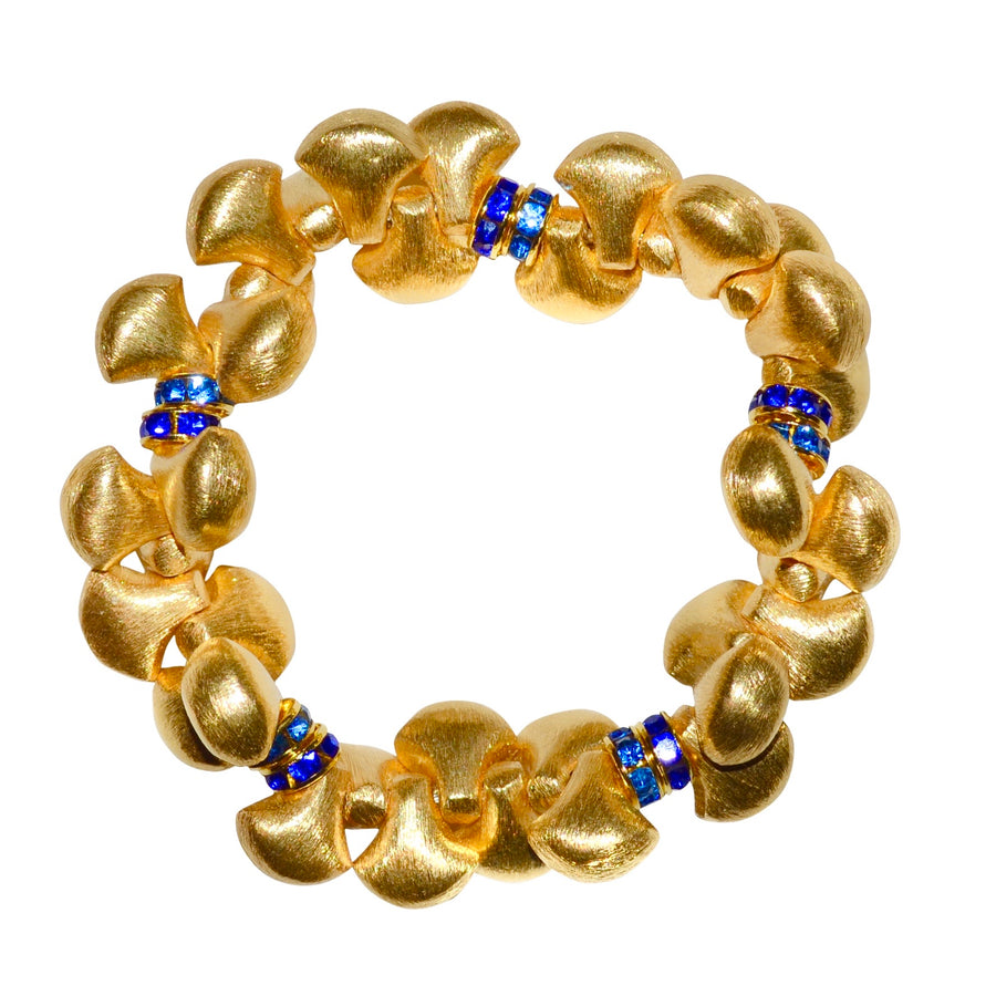 AUDREY BANGLE IN GOLD WITH BLUE CRYSTAL