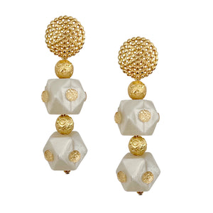 VALENTINES DOUBLE HEX EARRING IN IVORY AND GOLD