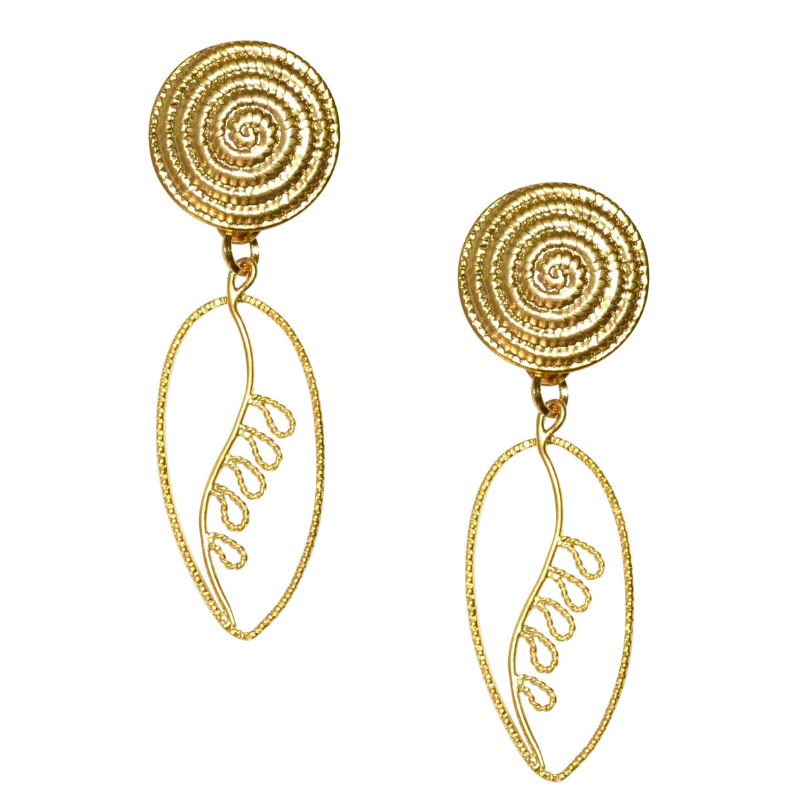 DESSA OVAL ROPE DANGLE EARRING WITH SWIRL POST