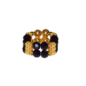 LIZZIE RING IN CLEAR DARK BLACK