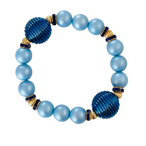 SPIRAL AND PEARL BANGLE IN BLUE
