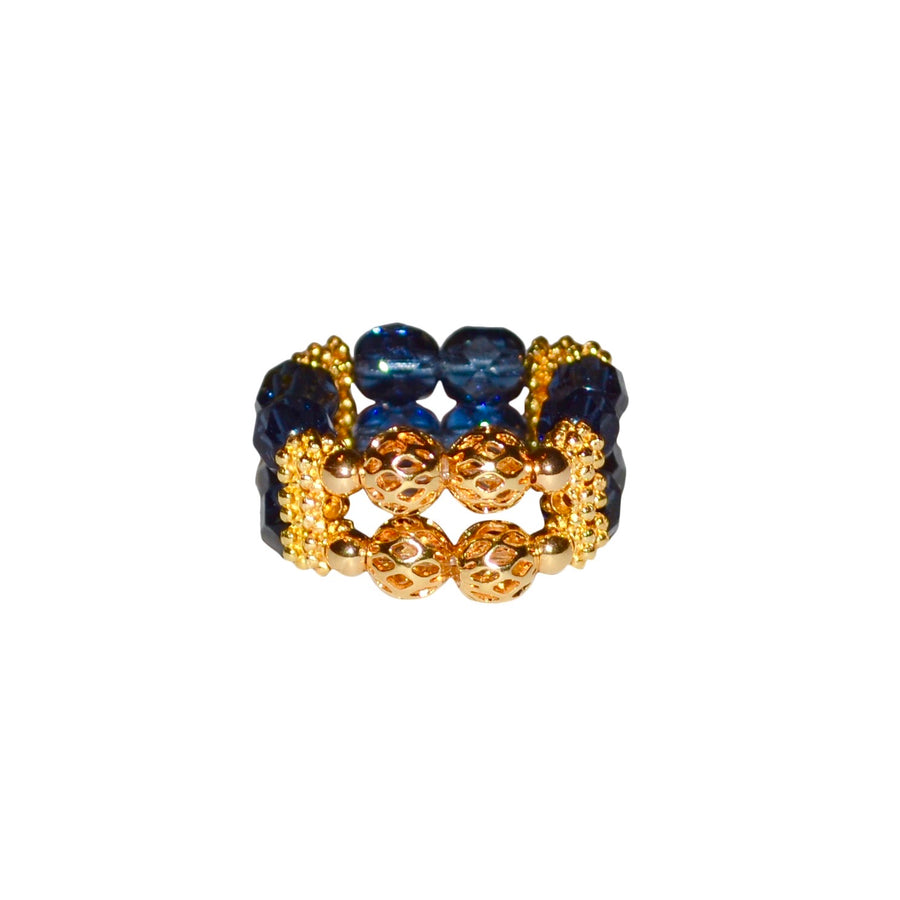 LIZZIE RING IN CLEAR DARK BLUE
