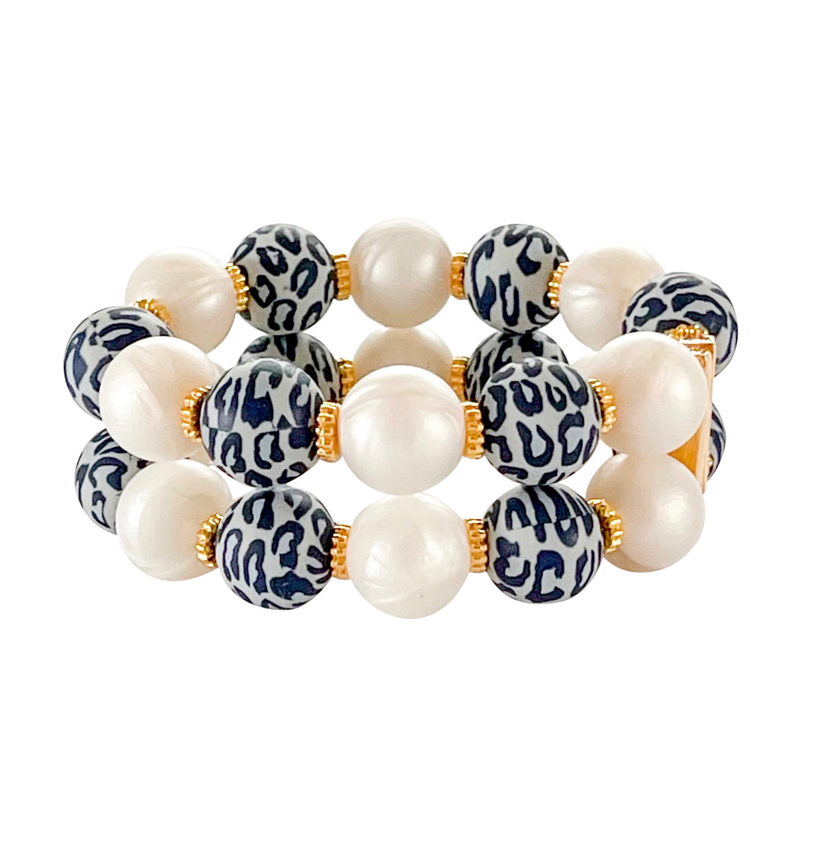 JAMIE CUFF IN GRAY LEOPARD AND IVORY PEARL