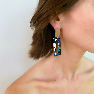 AIMEE RECTANGLE CAMO TORTOISE SHELL EARRING