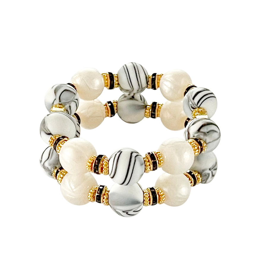 JAMIE CUFF IN MARBLE AND IVORY PEARL