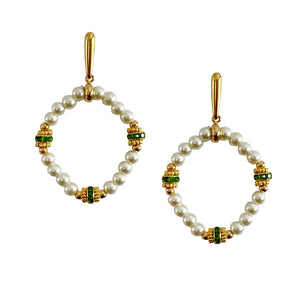 ST. PAT'S DIAMOND EARRING IN IVORY PEARL AND CLOVER GREEN