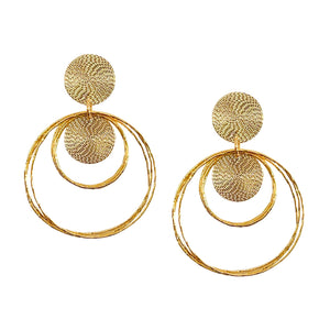 SPIRAL DISC DOUBLE HOOP EARRING