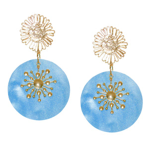 TABITHA SUNBURST DISK EARRING IN OPAL BLUE
