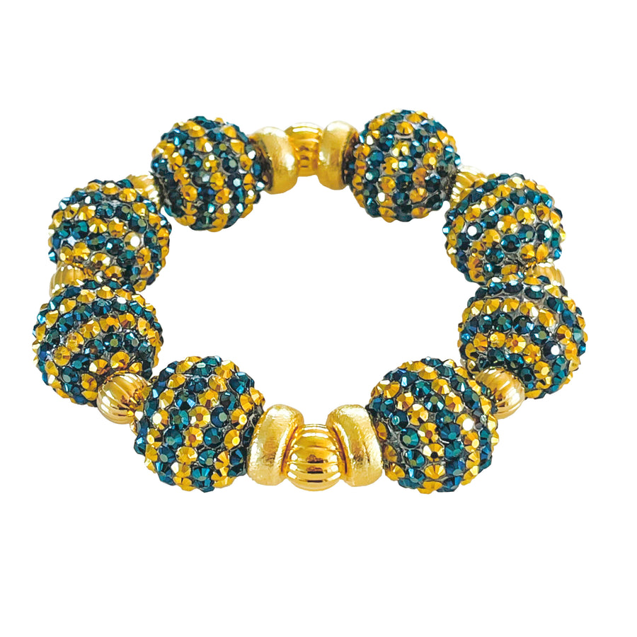 STRIPED SPARKLY STATEMENT BRACELET IN NAVY BLUE