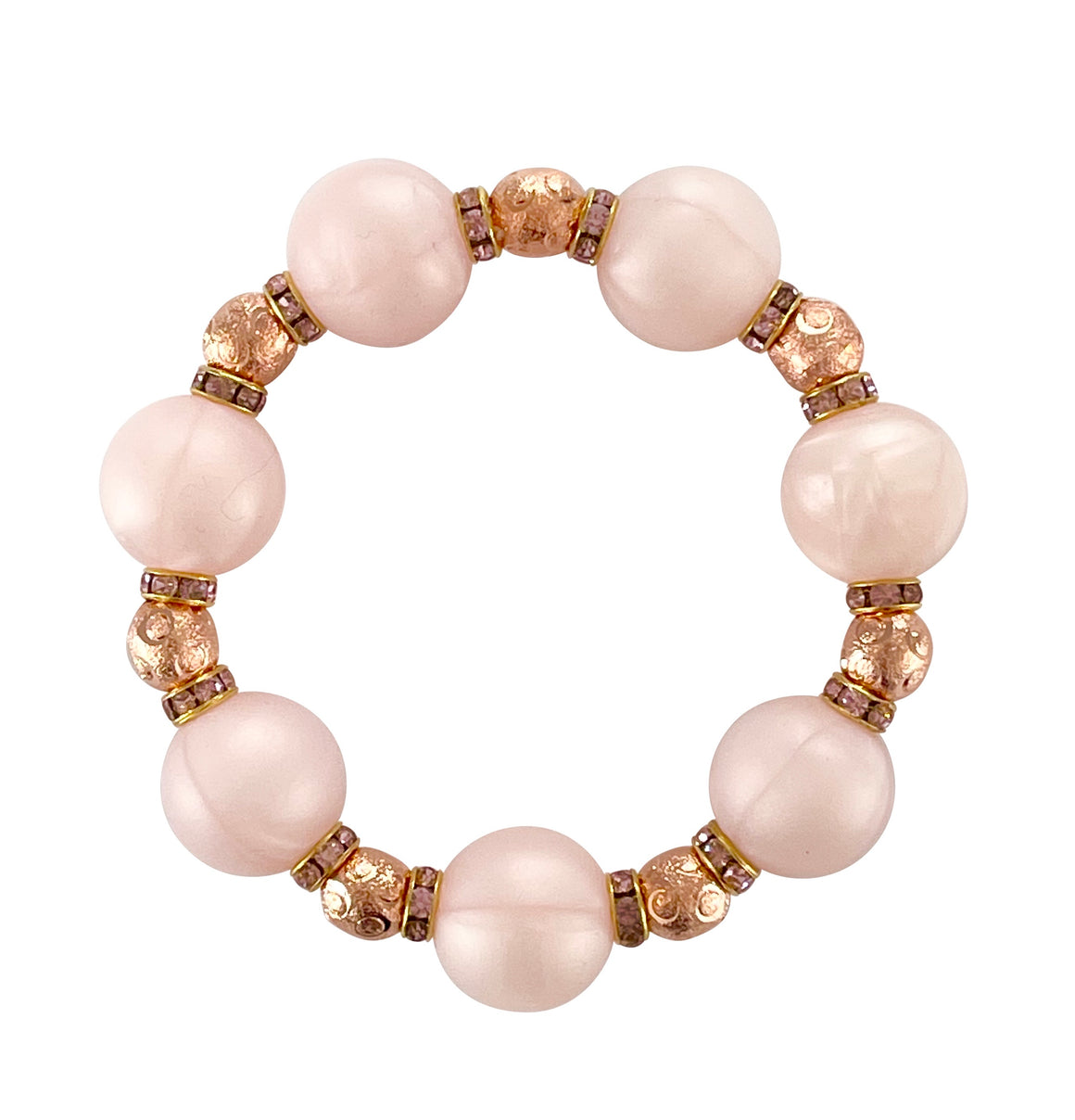 VALENTINES STATEMENT BRACELET IN LIGHT PINK AND ROSE GOLD