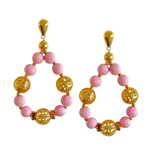 SPRING TEARDROP EARRING IN LIGHT PINK AND GOLD