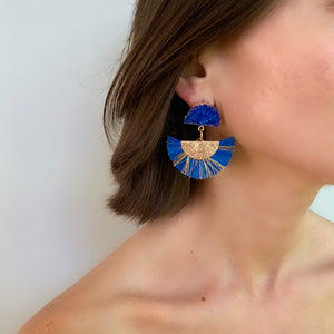 RAFFIA EARRING IN COBALT WITH DRUZY POST