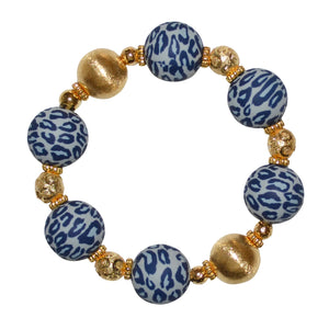 TESSA STATEMENT BRACELET IN GRAY LEOPARD AND GOLD