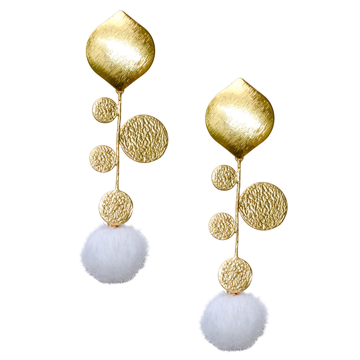 FAXON LONG EARRING WITH WHITE POM POM