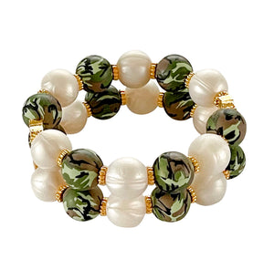 JAMIE CUFF IN CAMO AND IVORY PEARL