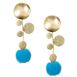 FAXON LONG EARRING WITH TURQUOISE POM POM