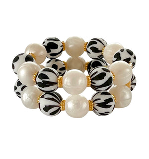 JAMIE CUFF IN DALMATIAN AND IVORY PEARL