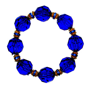 LUCITE STATEMENT BRACELET IN FACETED DARK COBALT