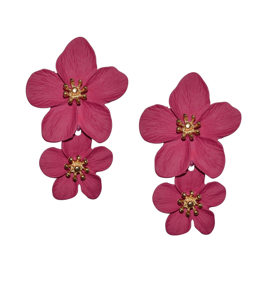 Greta Double Flower Earring in Dark Pink