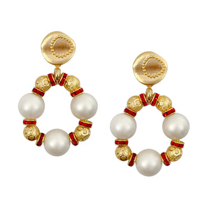 VALENTINES EARRING IN IVORY MATTE PEARL, GOLD, AND RED
