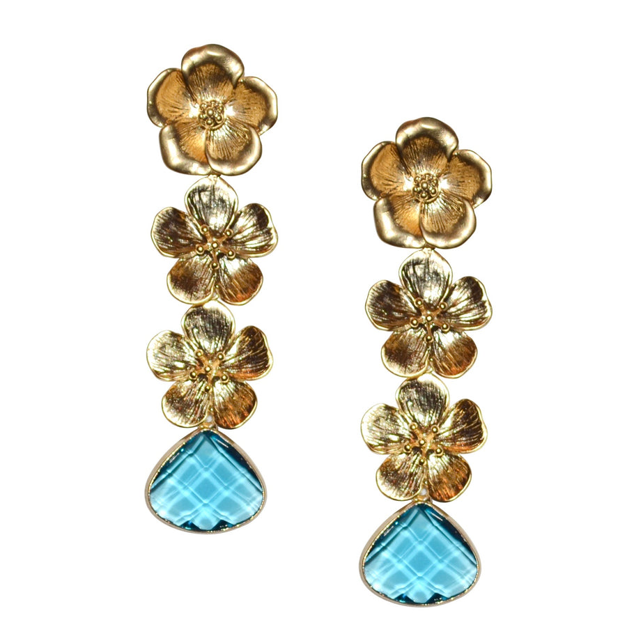 VERITY TRIPLE FLOWER EARRING WITH TURQUOISE CRYSTAL