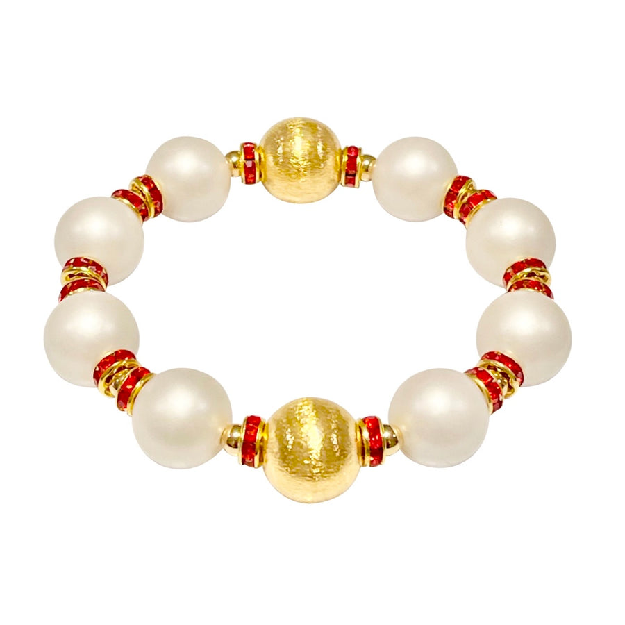 VALENTINES BANGLE IN MATTE IVORY PEARL AND RED CRYSTAL