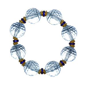 LUCITE STATEMENT BRACELET IN FACETED LIGHTEST BLUE