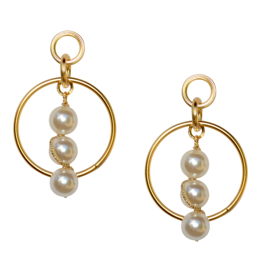 BECCA HOOP EARRING WITH PEARL DROP