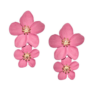 Greta Double Flower Earring in Pink
