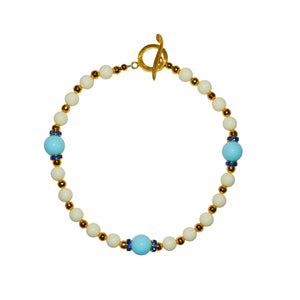 TATE HUDSON GUMBALL NECKLACE IN IVORY AND LIGHT BLUE