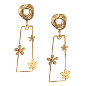 SALLY RECTANGULAR FLOWER EARRING WITH SWIRL POST