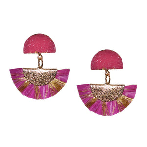 RAFFIA EARRING IN MAGENTA WITH DRUZY POST