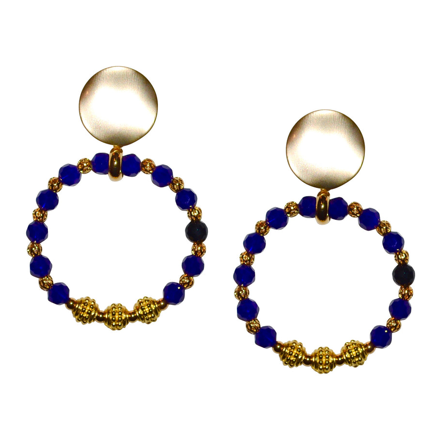CORA RING EARRING IN DEEP COBALT