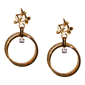 HOLIDAY WREATH DROP RING EARRING WITH POINSETTIA POST