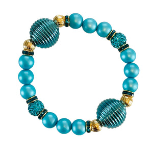 SPIRAL AND PEARL BANGLE IN TURQUOISE