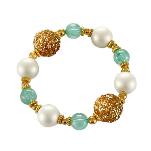 TEGGY BANGLE IN MINT, SPARKLY GOLD, AND IVORY